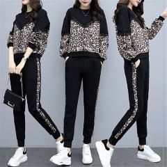 Hot Sales 2 Piece Set Women Tracksuits 2019 Plus Size leopord top + Pants Casual Sporting Suits