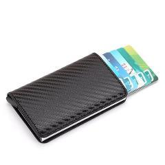 2019 New men Antitheft metal card holder fashion RFID aluminium credit card holder crazy horse PU leather travel card wallet
