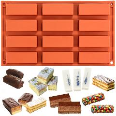 1pcs 12 Cavity Silicone Cake Mold Rectangle Shapes Chocolate Mold Soap Mould Baking Tool DIY Baking Pan Kitchen Accessories