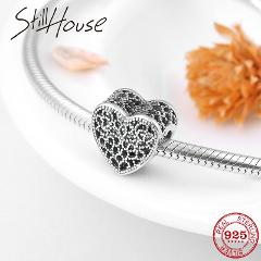 Lace texture heart 925 Sterling Silver beads Fits Original Pandora Original charms Bracelets Pendant Jewelry making 2018