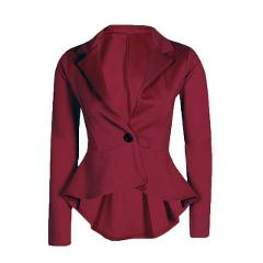 Peplum Blazer Chamsgend Newly Design Women Turn Down Collar Long Sleeve Frill Single Button Slim Formal Suit Coat #0724