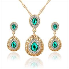 Kuziduocai New Fashion Jewelry Crystal Droplet Carving Dubai Necklaces & Pendant Stud Earring Sets For Women Parure Bijoux N-372