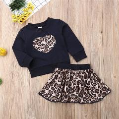 Fashion 2pcs Leopard Tracksuit Set Baby Girl Autumn Winter Clothing Set Cotton Warm Hoodies Coat Tops And Tutu Skirt