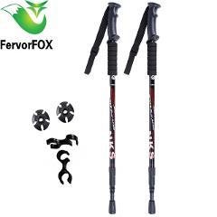 2Pcs/lot Anti Shock Nordic Walking Sticks Telescopic Trekking Hiking Poles Ultralight Walking Canes With Rubber Tips Protectors