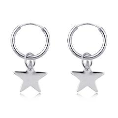 1pair Chic Silver Color Little Star Pendant Hoop Earrings For Women Cute Endless Circle Earring Charm Girl Earring Jewelry E801