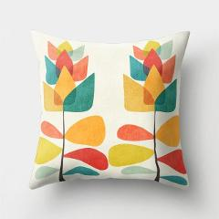 Colorful Sun Moon Mountain Gold Peaks Rivers Geometric Abstract Pattern Colorful Retro Cushion Cover Sofa Pillow Case