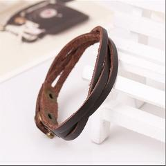 Hot Popular Multicolor Men Women Leather Bracelet Wrap Braided Wristband Cuff Simple Adjustable Chic Bracelets