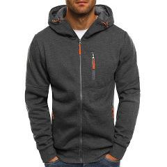 Litthing 2019 Gray/Black Hooded Sweatshirt Mens Fall Zip Up Hoodie Hoody Jacket Sweatshirt Casual Gym Hooded Coats Tops Outwear