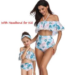 2020 New Women Strapless Shoulder High Waisted Bikini Open Back Swimwear Family Matching Swimsuits For Girls Baby Children Kids