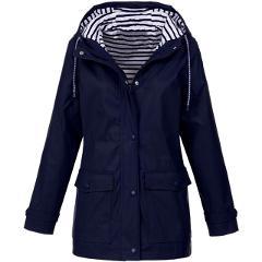 Women's Solid Rain Jackets Outdoor Hoodied Waterproof Long Coats Overcoat Long Windbreaker Plus size Outerwear Harajuku