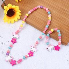Children Jewelry Wooden Beads Unicorn Girls Necklace for Birthday Festival