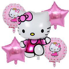 5pcs/set cartoon Hello Kitty Foil balloon set birthday party decoration running KT baby shower wedding balloon supplies girl toy