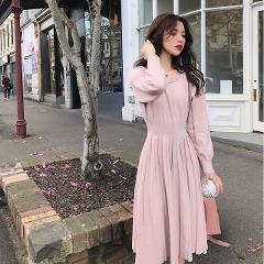 Korean Sweater Dress Spring Woman NEW Knitted Female  Long Sleeve Loose Vintage Office Lady
