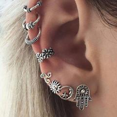 ZORCVENS 8pc/set Bohemia Earrings Moon Sun Hand Design Ear Stud for Women Antique Silver Ear Cuff Ear Bone Piercing Earrings