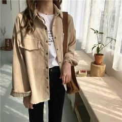Yeniery New shirt 19 autumn new ins loose and versatile corduroy shirt women's solid color casual long sleeve shirt coat  UT098