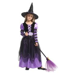 Fantasias Witch Costume for Girls Halloween Fairy Tail Witch Cosplay for Kids Carnival Role Party Fancy Dress