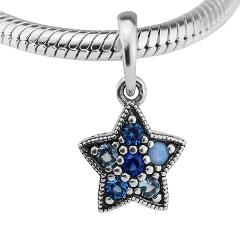 Bright Star Necklace Pendants Multi-Colored Crystal Beads for Women Jewelry Making Silver DIY Fit Pandora Charms Bracelets