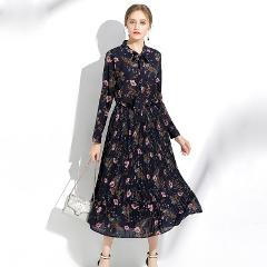 2017Autumn Fashion ladies long chiffon Dress Floral Printed Elegant one-piece Dress bow collar casual longos vestido XXXXXL 8009