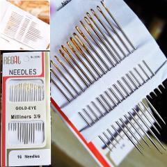 16pcs/Bag Tail Gold Plated Hand Sewing Needles Large Eye Thick Sewing up Needle Embroidery Mending Quilt Hand Sewing Combination