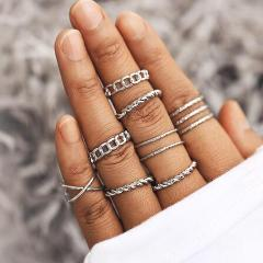 17KM Bohemian Gold Vintage Rings Star Moon Beads Crystal Ring Set Women Charm Joint Ring Party Wedding Fashion Jewelry Gifts