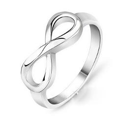 Infinite 8 Glamour Eternity Ring Silver Plated Wedding Engagement Endless Love Ring Women's Fashion Jewelry