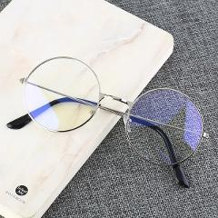 Vintage Round Metal Frame Blue-Light Blocking Personality College Style Clear Lens Eye Glasses Eye Protection Mobile Phone Game