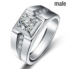 FDLK     Men's Simple Fashion Square Inlay White Crystal Engagement Wedding Jewelry Gift Size 6 - 15