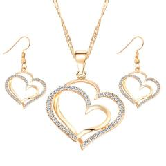 IF ME Charm Crystal Love Heart Jewelry Set Pendant Necklace with Dangle Earrings Gold Silver Color Romantic Wedding Jewelry Gift