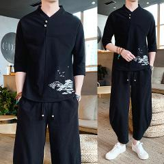 2019 Spring Summer New Pattern Fashion Cotton Best Embroidery T Pity Suit Male Tide tracksuit men Thin gym Free shipping Black