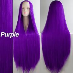 "LiangMo Green Purple Black Wig 100CM/40"" Synthetic Heat Resistant Fiber Long Carnival Costume Cos-play For Party Straight Hair"