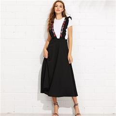 Sheinside High Waist Zip Back Flare Skirt with Embroidered Strap Black Long Skirts For Women 2019 Elegant A Line Midi Skirt