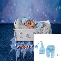 Cute Baby 2 Pcs/set Cute Baby Photo Clothing Suit Hand-woven New Long Tail Cap Pants F1CB