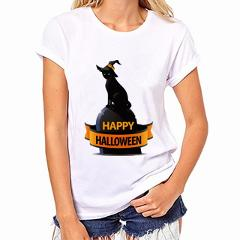 2019 Womens Brand Clothing Summer Women T Shirt Short Sleeve O-neck Casual Funny Black Cat Tops Tees Female Ladies T-Shirt