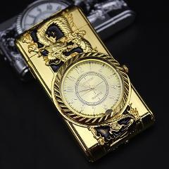 Luxurious Gold Watch Jet Lighter Torch Turbo Gas Lighter Windproof Cigar Cigarette Metal Lighter Led Inflated Gasoline Butane