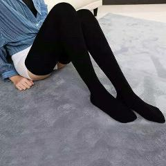 New Fashion Women Ladies Cotton Stockings Winter Warm Casual Cable Knit Over knee Long Boot Thigh-High Stocking Black White Gray