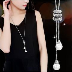 Luxury Bohemian Style Charm Necklace Simple Pearl Spiral Pendant Long Necklace Valentines Day Gifts