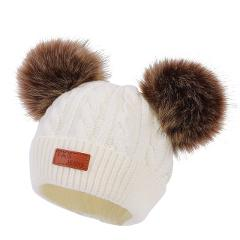 Baby Hat Crochet Double Removable Pompom Hat For Baby Girls Winter Kids Caps With Pompom Faux Fur Children's Hats Caps