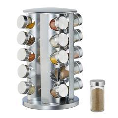 Stainless Steel Glass Spice Jar Storage Bottle Shakers Rotating Seasoning Rack for 20 Bottles Durable Kitchen Organizer 30E