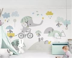 Beibehang  Custom personalized cute bicycle elephant hamster cloud children background wall paper papel de parede 3d wallpaper