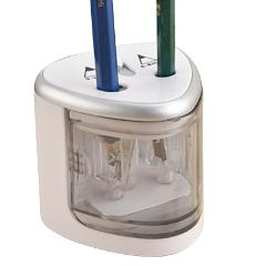 1 Piece Silver Electric Pencil Sharpener Plastic Pencil Sharpener Dual Holes Battery Operated School Office Stationery