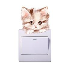 3D Vivid Effect Cat Dog Light Switch Stickers For Kids Rooms Parlor Home Decor Pvc Animals Wall Decals DIY