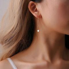 Women 2018 Gold Silver Color Crystal Long Tassel Earrings Fashion Star Streamlined Female Bridal Wedding Jewelry Pendant Femme