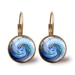 Swirl Blue Mandala Glass Dome Cabochon Drop Dangle Earrings Retro Jewelry Antique Bronze Lever Back Earrings for Women Girl Gift
