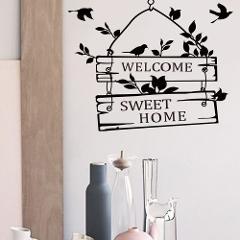 welcome sweet home quotes wall stickers home decor living room door sign birds flower vine wall decals vinyl mural art