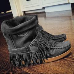 NAUSK 2019 New Women Fringe Ankle Boots Retro Solid Suede Low Heel Female Autumn Zipper Casual Tassel Booties Botas Mujer