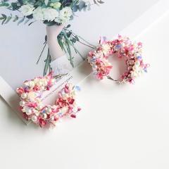 MENGJIQIAO 2018 Korean New Fashion Lace Wreath Big Circle Earrings For Women Handmade Simulated Pearl Statement Dangle Oorbellen