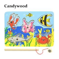 Kids Wooden Toys Educational Learning Wood Magnet Fishing Game Small Magnetic Puzzle Table Farm Education Toys For Children