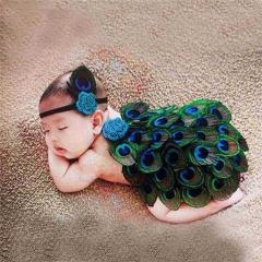 Newbron Baby Photography Prop Girls Boys Peacock Photo Props Crochet Knit Photo Clothes with Headband for 0-12 Month Infant Kids
