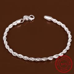 Lekani 925 Sterling Silver Fine Jewelry For Women And Men 4mm Chain Charm Flash Twisted Rope Bracelet Pulseiras De Prata Jewelry
