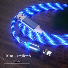 3 in 1 Magnetic charging Mobile Phone Cable Flow Luminous Lighting cord charger  Wire for iphone Samaung LED Micro USB Type C